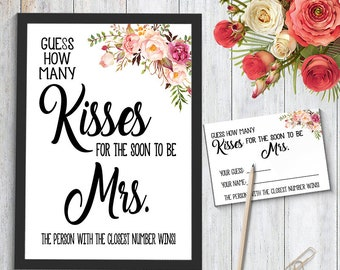 photo regarding How Many Kisses for the Soon to Be Mrs Free Printable named How innumerable kisses Etsy