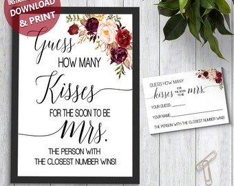 photo about How Many Kisses for the Soon to Be Mrs Free Printable referred to as How numerous kisses Etsy