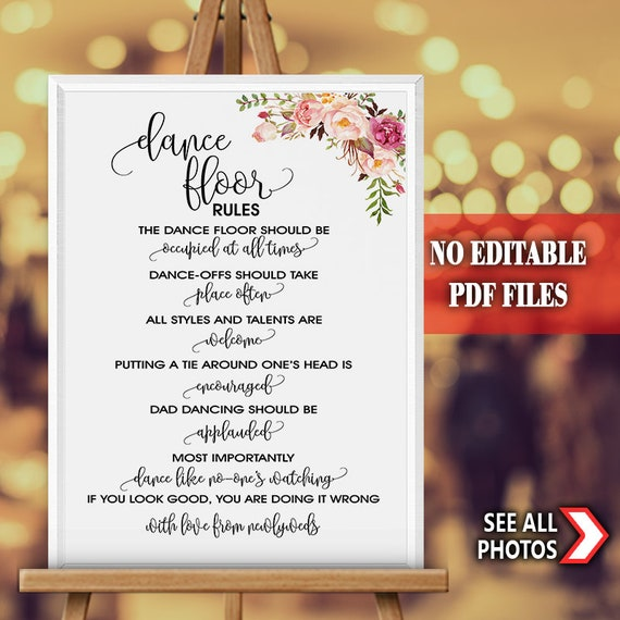 Dance Floor Rules Sign Party Wedding Sign Reception Dance Etsy