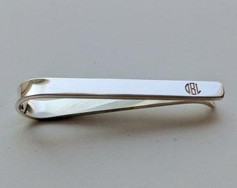 Monogram Tie Clip,Monogrammed Wedding Tie Clip,Tie Clip Personalize,Sterling Silver Tie Bar Clip,Tie Clip,Custom Groomsmen Tie Clip