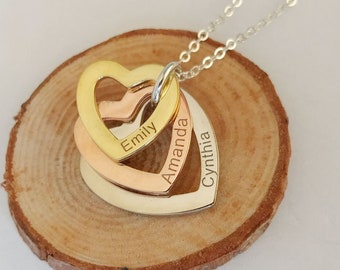 2f473cdc23 Three Heart Necklace,Personalized Linked Hearts Necklace,Custom Children Name  Necklace, Family Name Necklace, Mother's Day Gift
