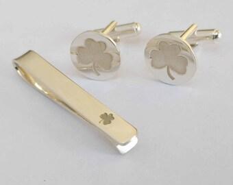 4f4fdd87f5b0 Shamrock Cufflinks and Tie Clip Set, Ireland Symbol Tie Clip and Cuff Links,Wedding  Cufflinks and Tie Clip Set,St. Patrick's Day Gift,
