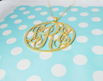 Gold Monogram Necklace,Nameplate Initial Necklace,Circle Initials Necklace,Personalized Necklace,Monogram Jewelry,Bridesmaid Gift