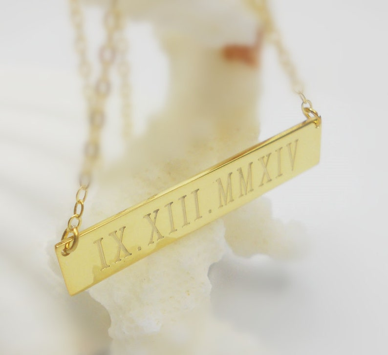 Gold Roman Numeral Necklaceroman Numeral Date Etsy