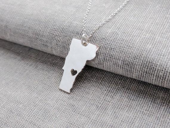Vermont State Charm Necklace 925 Sterling Silver State Jewelry Vermont *NEW*