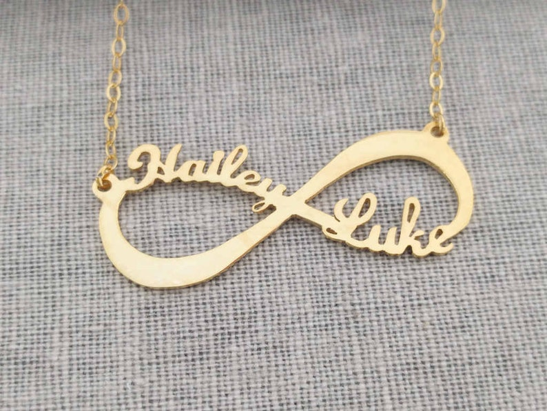 f0d372a34d686 Gold Infinity Necklace,Infinity Name Necklace,Infinity Double Name  Necklace,Infinity Symbol Necklace,Eternity Necklace,Couple Necklace