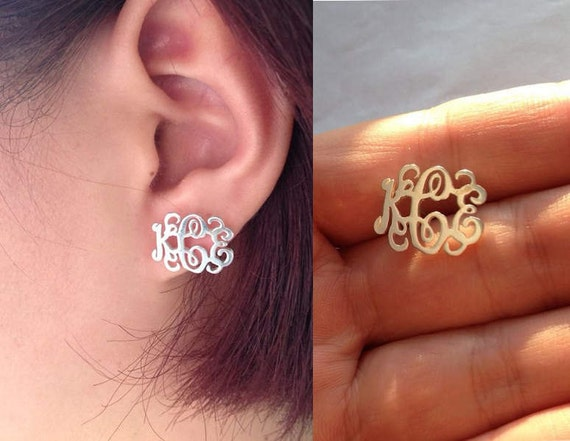 1c756c23d Sterling Silver Monogram Earrings 3 Initial Personalized | Etsy