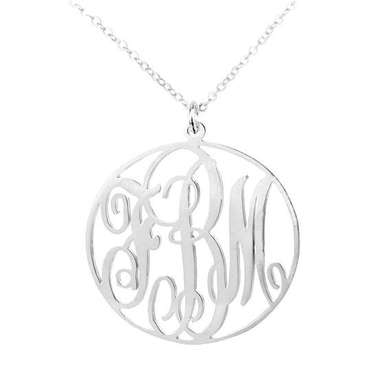"16/"" 20/"" 3 Initial Circle Monogram Heart Pendant//Chain 925 Silver 18/"""