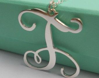 Single Monogram Necklace,1 Letter Monogram Necklace,One Initial Necklace,Silver Initial Necklace,Silver Script Necklace 100% Handmade