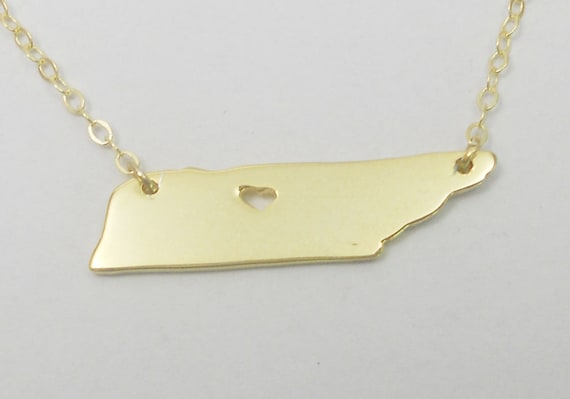 10k Yellow Gold Tennessee State Map Charm Tennessee Shape Pendant