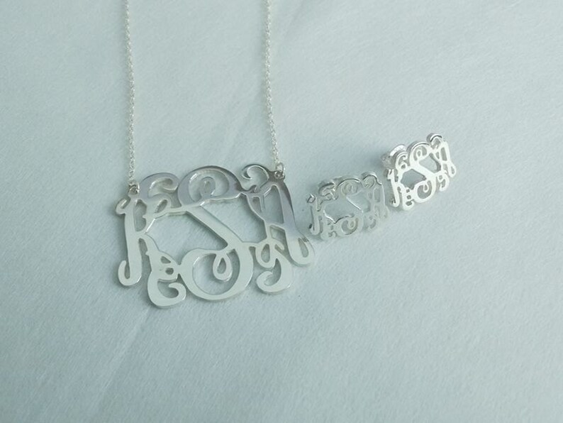 Mix and Match Monogram Jewerly,Monogram Earrings and Monogram Necklace,1.5 Silver Monogram Necklace,3 Initial Solid Sterling Silver Earring