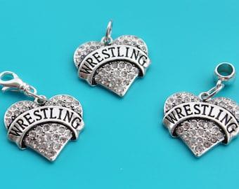 WRESTLING HEART Charm,Charm Dangle,Zipper Pull, Euro Bead,wrestling charm,wrestling euro,wrestling,wrestler,WWE,wrestling mom,1580