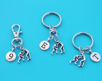 WRESTLING KEYRING,Zipper Pull,Purse Dangle,Initial or Number,wrestling charm,wrestling euro,wrestling,wrestler,wwe,wrestling mom,1589