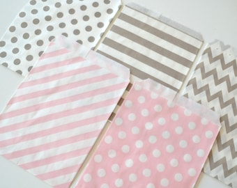 "25PK - Gray & Light Pink 5"" X 7"" Treat Bags // Party Favor // Paper Bag"