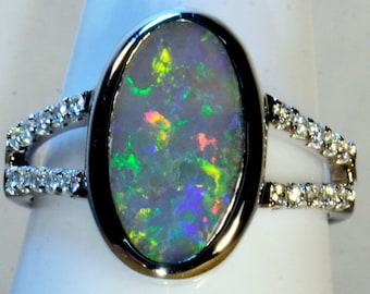 BIG Solid Lightning Ridge Australia Opal & 20 diamond Solid 18ct (750) White Gold engagement / dress ring (15023) FREE SHIPPING