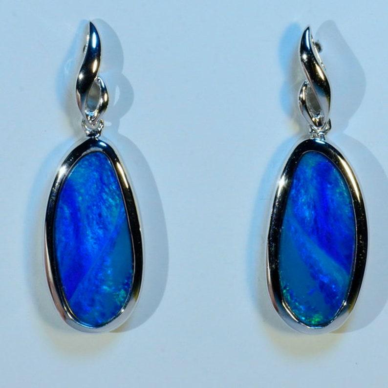 e12cbd555bb9d BIG Blue Opals Genuine Australian Dangle Earrings in Solid 925 Sterling  Silver (14553)