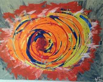 Exploding Sun abstract painting