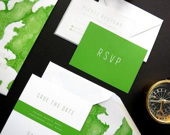 Topography Wedding Invitation Suite