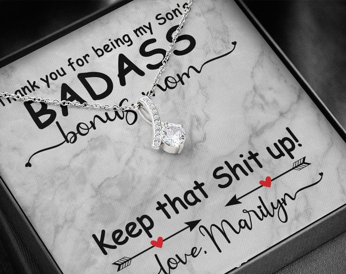 Biological Mom to Bonus Mom Gift Thank you for being my son's/daughter's Badass Bonus Mom Necklace Mother's Day gift from Mother to Step Mom
