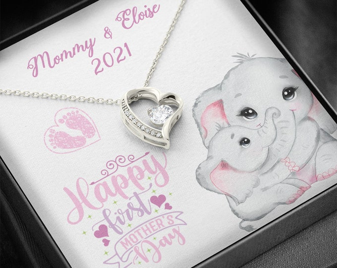 Happy first Mother's Day Elephants, cute Mama Elephant and baby girl or baby boy necklace, gift from new dad to new mom 1st Time Mom Gifts