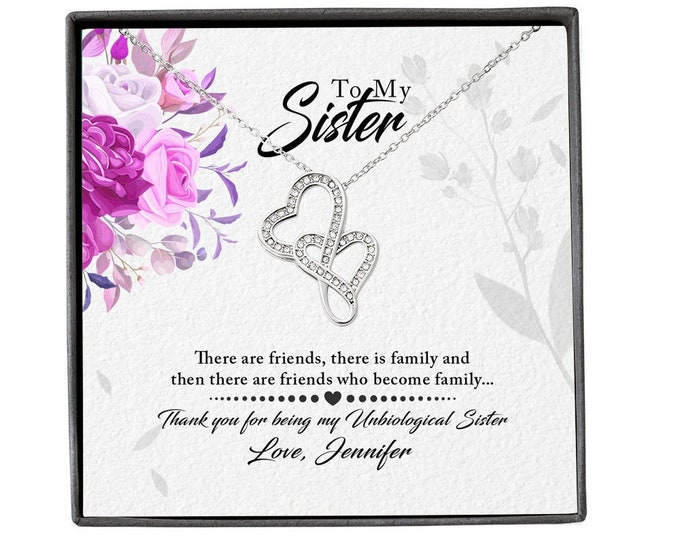Unbiological Sister Message Card Jewelry different necklaces to choose from, Step Sister Necklace, personalized Gift for Step Sister