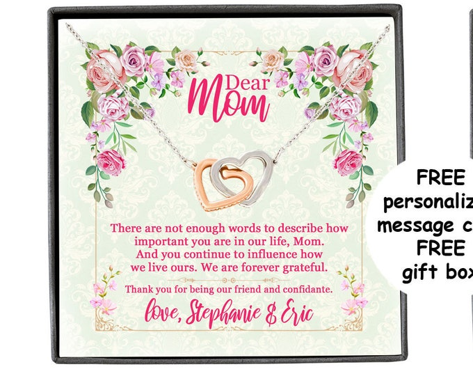 Mother's Day Necklace with personalized message Gift for Mom from Son and Daughter Necklace for Mother, mom birthday gift different pendants