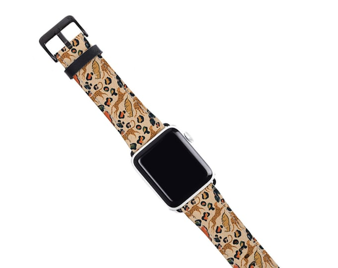 Abstract Leopard Jungle Apple Watch Band, artificial leather, fits all series, Nude color tropical leaves Apple watch strap, Series 6 5 4 SE