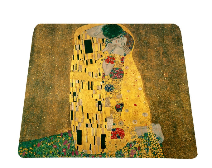 The Kiss by Gustav Klimt mouse pad mousepad, office gift under 15, art lovers mousepad, mouse mat, art teacher gift, austrian painter