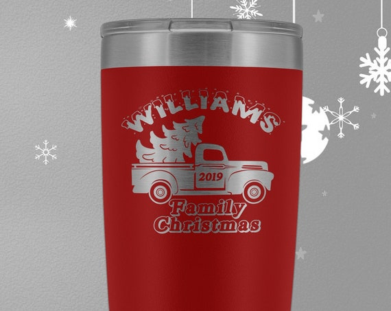Family Christmas 20oz Travel Mug, Customized Christmas Tumbler with your family name, Christmas Truck, Personalized Family Christmas Gifts