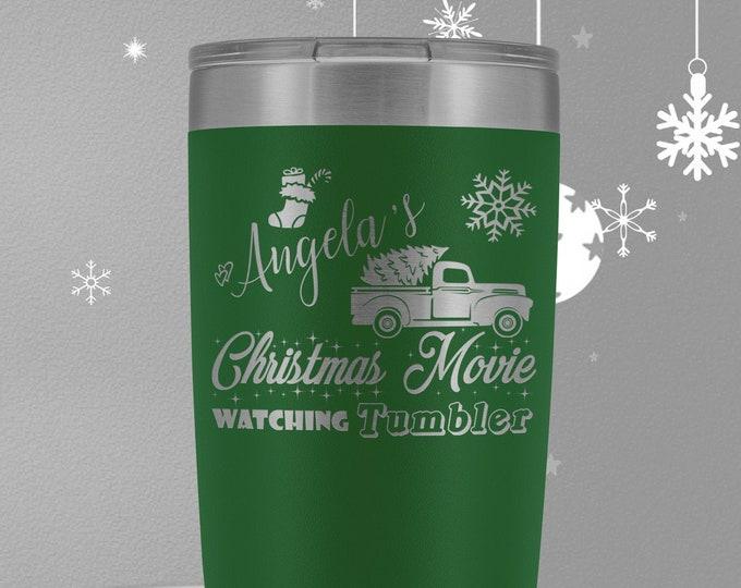 Custom Name Christmas Movie Watching 20oz Travel Mug, Christmas Truck, Christmas Movie Watching Tumbler, Christmas Tumbler, Christmas Gift