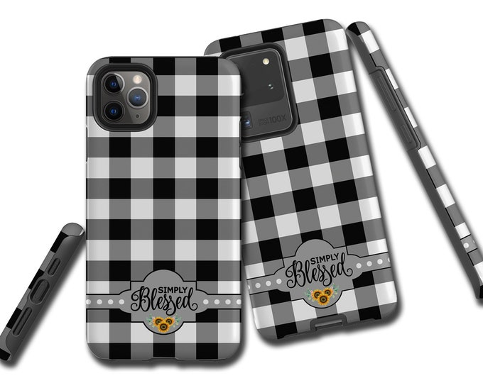 Simply Blessed Buffalo Plaid Sunflowers iPhone 12 case Christian Galaxy Note 20 Ultra iPhone 11 iPhone XR iPhone 8 Samsung Galaxy S20 Plus