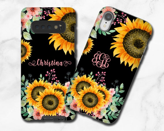 Fall Sunflower iPhone 11 monogram iPhone XR Case, Sun Flower custom name Samsung Galaxy S10 5G, iPhone XR, iPhone 8, iPhone 7, Galaxy Note 9