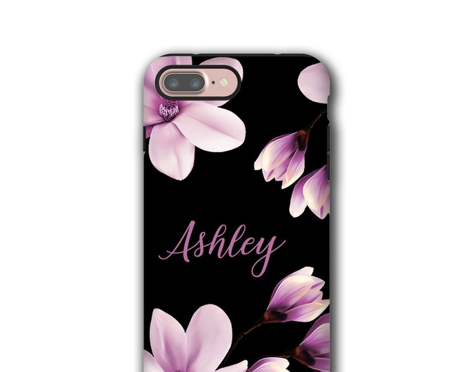 Magnolia iPhone 11 pro case, custom name iPhone 8, purple flowers, iPhone xs max, Galaxy Note 9,  iPhone 12, Galaxy S8, iPhone 6, iPhone 7