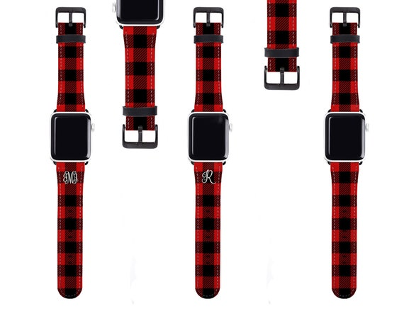 Red Buffalo Plaid Apple Watch Band monogrammed Tartan Apple watch strap for women, faux leather, 38mm, 40mm, 42mm, 44mm, fits all series
