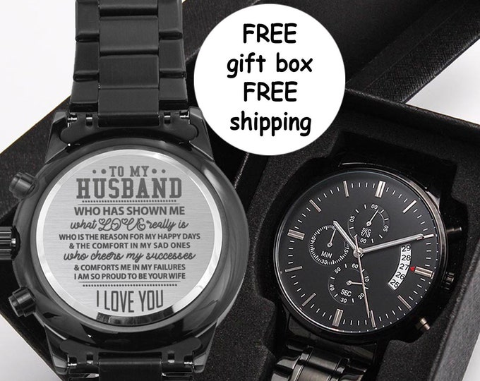 To my Husband Father's Day Watch Gift for him High Quality personal anniversary gift from wife, Black Chronograph, Birthday Gift for men
