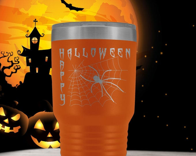 Happy Halloween Travel Mug - 30oz orange Tumbler - spider web coffee mug - stainless steel laser etched - Halloween gift-Polar Camel Tumbler