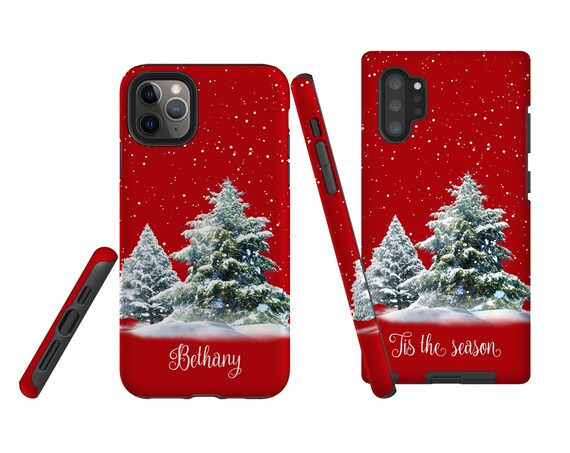Christmas Phone Case Red, personalized, iPhone 11 Pro, Samsung s10e, Samsung Galaxy Note 10 Plus, iPhone XR, Galaxy S10, iPhone 8, Galaxy S9