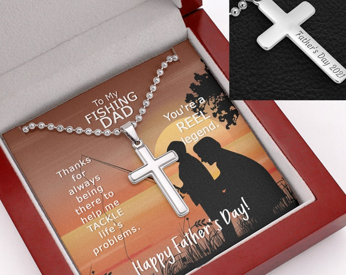 Fishing Dad Gift Cross Necklace - Father's Day 2021 custom engraving on the back, Father's Day Gift from son, cross on military ball chain
