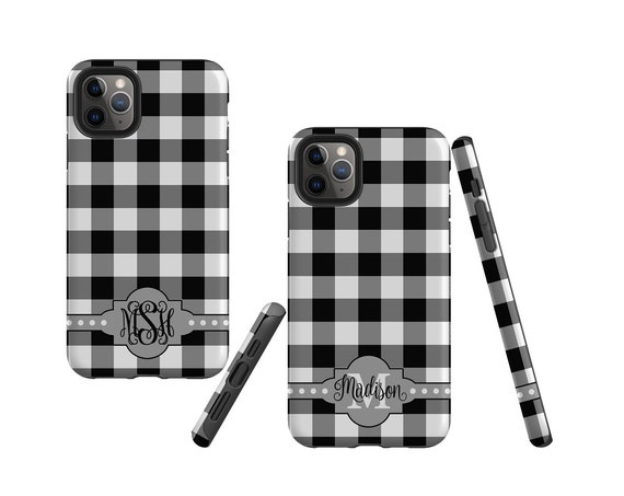 Buffalo Plaid black and white iPhone 11 Pro Max Case, monogram Samsung Galaxy Note 10 Plus, iPhone XR, Galaxy S10, iPhone 8 Plus, Galaxy S9
