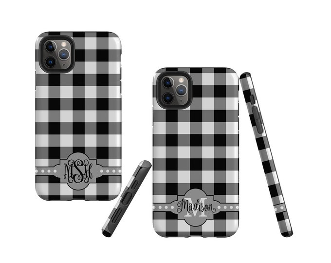 Buffalo Plaid black and white iPhone 11 Pro Max Case, monogram Samsung Galaxy Note 10 Plus, iPhone XR, Galaxy S10, iPhone 8 Plus, Galaxy S21