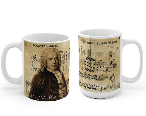 Classical Music Mug, Johann Sebastian Bach, german baroque musician, gift musician, german composer, music teacher gift, pianist ceramic mug