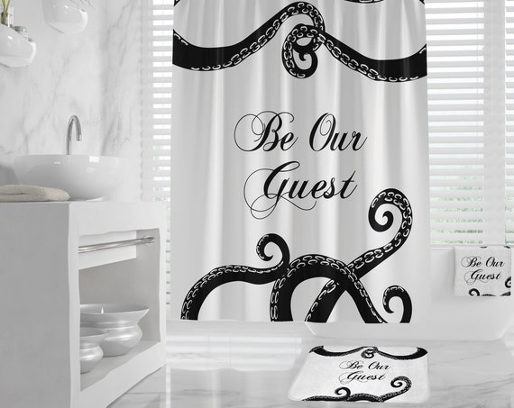 Octopus Guest Bathroom Shower Curtain, Giant Kraken Tentacle, Be our guest bath design, Bath Mat, Hand Towel, Bath Towel, nautical bathroom