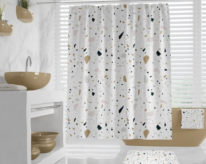Terrazzo Bathroom Design, Shower Curtain,  Bath Mat, Hand Towel, Bath Towel, neutral colors guest bathroom, timeless bath decor, minimalist