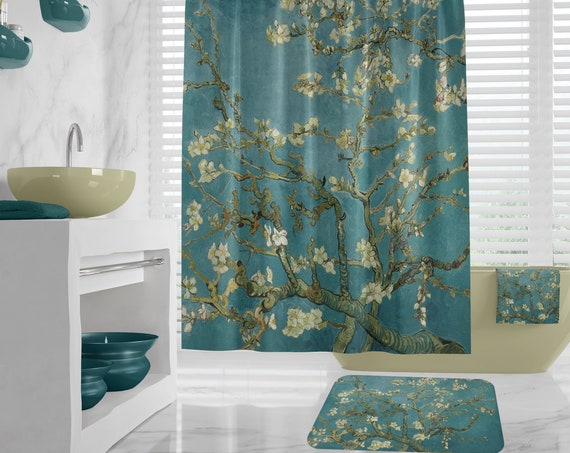 Van Gogh Shower Curtain - Almond Blossom, fine art bathroom decor, hand towels, Art Bath Mat, Bath Towel, art teacher gift, different sizes
