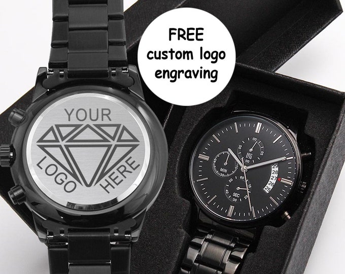 Custom Business Logo watch for men.Company Logo engraved Black Chronograph.Corporate Gifts.Unique Retirement Gift.Promotional merchandise