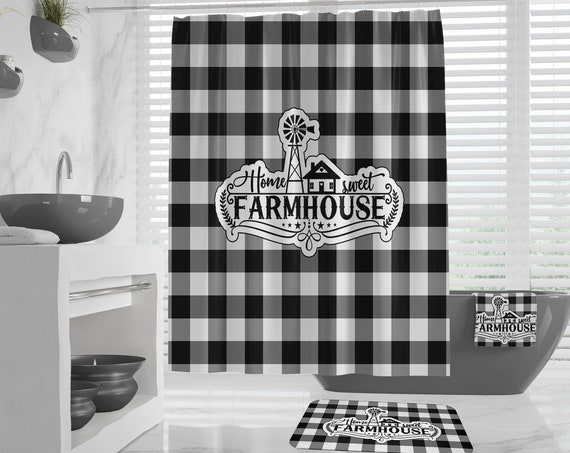 Home sweet farmhouse Shower Curtain Bath Mat Bath Towel Hand Towels, Black Buffalo Plaid Farmouse Windmill Design, Rustic Country Guest Bath