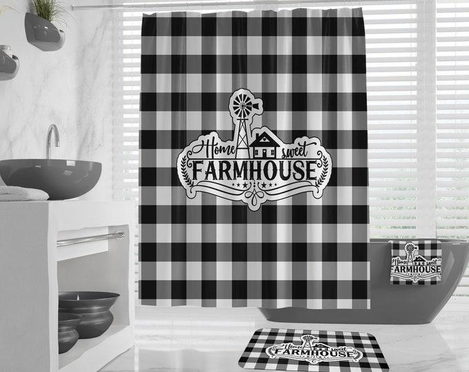 Home Sweet Farmhouse Shower Curtain, extra long, Bath Mat Bath Towel Hand Towels, Buffalo Plaid Windmill Design, Rustic Country Guest Bath