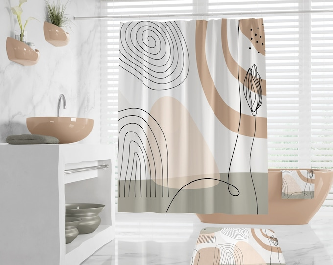 Abstract Art Shower curtain, Bath Rug and Towels, Peaceful and  Neutral Warm Earth Colors, Modern Contemporary Bathroom Decor