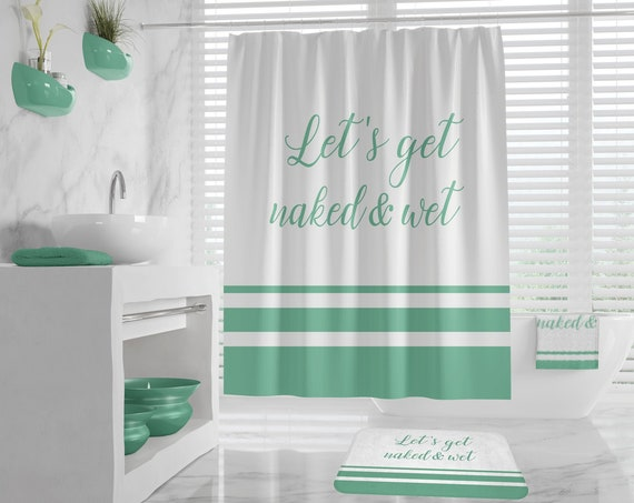 Lets get Naked and Wet - Funny Shower Curtain, Offensive Bath Mat and Towel, Sassy Bathroom Decor Set Sexy Bathroom Decor, different colors