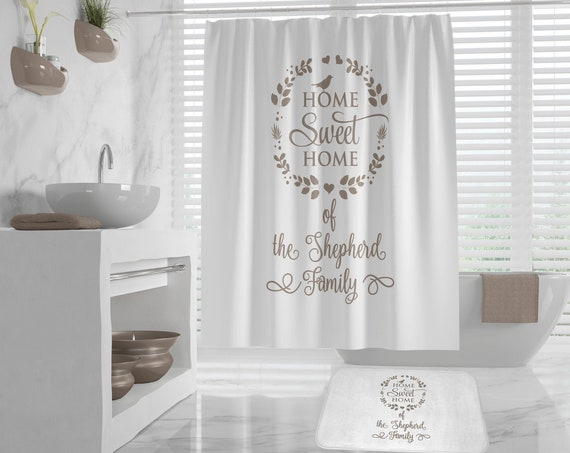 Home Sweet Home Custom Name Shower Curtain and Bath Mat, customized shower curtains, family name personalized bath mat, different colors
